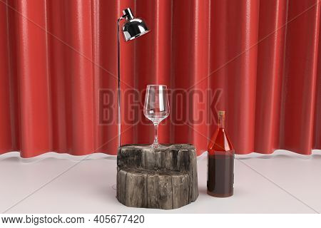 Empty Wine Glass Placed On Wood 3d Rendered