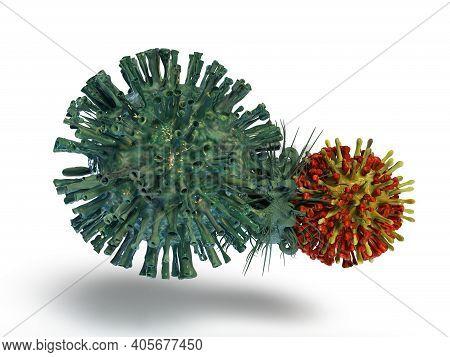 Mutating Corona Virus In White Background 3d Render