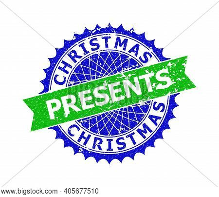 Vector Christmas Presents Bicolor Stamp Seal With Distress Surface. Blue And Green Colors. Flat Seal