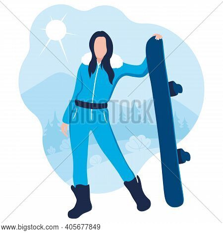 Girl With A Snowboard In His Hands. Women's Snowboard. Flat Design. Vector Illustration On A White B