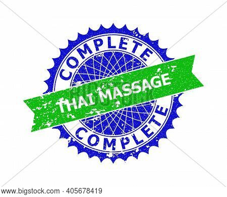 Vector Complete Thai Massage Bicolor Stamp Seal With Distress Texture. Blue And Green Colors. Flat S