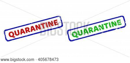 Vector Quarantine Framed Watermarks With Unclean Surface. Rough Bicolor Rectangle Watermarks. Red, B