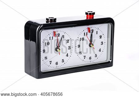 Chess Clock In Black With A White Dial On A White Isolated Background