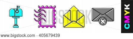 Set Mail Box, Postal Stamp, Outgoing Mail And Delete Envelope Icon. Vector