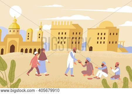 Ramadan Charity Flat Composition With Outdoor Desert Scenery And Muslim People Giving Alms To The Af