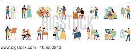 Artist Set Of Isolated Icons With Human Characters Of Creative Workers With Painters Sculptors And D
