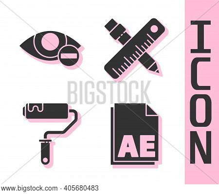 Set Ae File Document, Red Eye Effect, Paint Roller Brush And Crossed Ruler And Pencil Icon. Vector