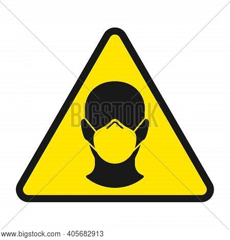 Face Mask Warning Triangle Vector Sign. Covid-19 Social Distancing And Safety Measures Symbol. Coron