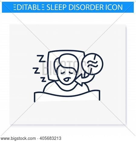 Apnea Line Icon. Sleep Disorder. Healthy Sleeping Concept. Sleep Problems Treatment. Breathing Troub