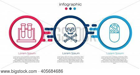 Set Line Test Tube And Flask, Skull On Crossbones And Medicine Pill Or Tablet. Business Infographic