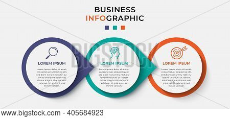 Business Infographic Design Template Vector With Icons And 3 Three Options Or Steps. Can Be Used For