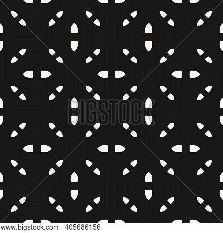 Black And White Vector Minimalist Seamless Pattern. Subtle Minimal Geometric Ornament, Abstract Mono