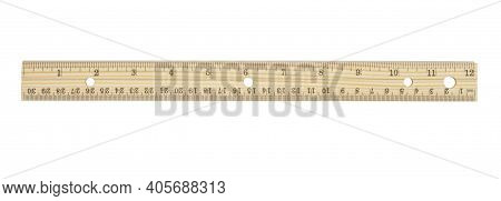 Retro Wood 12-inch Ruler With Silver Edge Isolated On White
