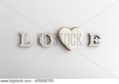 White Lettering Love With Heart Instead Of Letter V. Valentines Day.