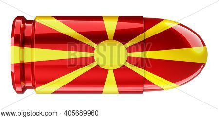 Bullet With Macedonian Flag, 3d Rendering Isolated On White Background