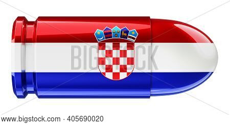 Bullet With Croatian Flag, 3d Rendering Isolated On White Background