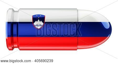 Bullet With Slovenian Flag, 3d Rendering Isolated On White Background