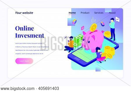 Isometric Landing Page Design Concept Of Online Investment. People Are Investing Money Online For Gr