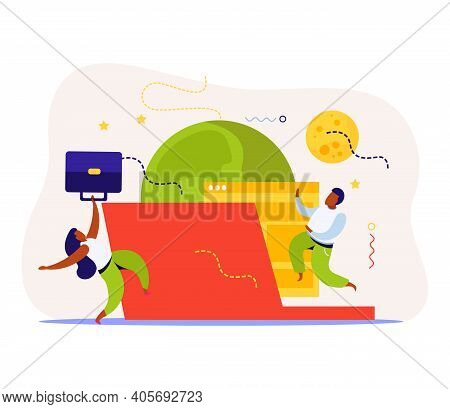 Startup Flat Background With Composition Of Business People With No Gravity Planet Images And Comput