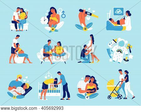 Pregnant Motherhood Set Of Isolated Icons With Human Characters Of Loving Couple Waiting For The Bab