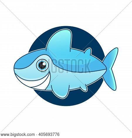 Vector Illustration Of Shark With Open Mouth Full Of Sharp Teeth, Isolated On A White Background. Sh
