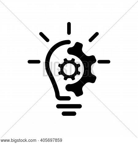 Creative Idea Line Icon. Lump With Gear Icon. Brain In Lightbulb Vector Illustration. Thin Sign Of I
