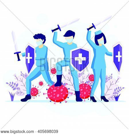 Fight The Virus Concept, Doctor And Nurses Use Sword And Shield To Fighting Covid-19 Coronavirus Ill