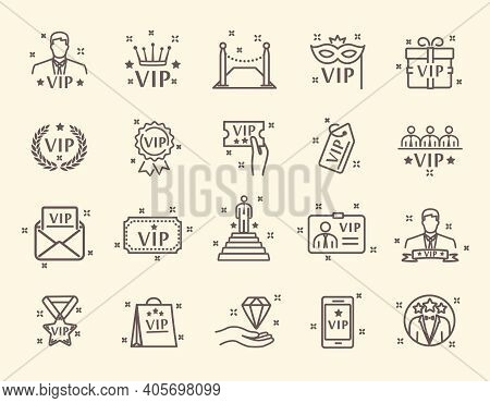 Vip Related Line Vector Icons. Contains Such Icons As Special Guests List, Vip Lounge, Red Carpet An