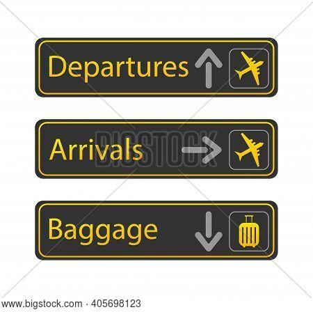 Yellow Departure Arrivals. Departure Arrivals, Great Design For Any Purposes. Banner Design. Vector