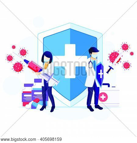 People Fight With Virus, Doctor And Nurse Fighting Covid-19 Corona Virus Concept Illustration