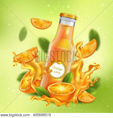 3d Realistic Advertising Of Orange Juice, A Bottle In A Splash Of Orange Juice Among The Splashes An