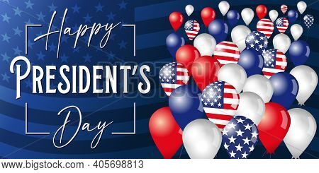 Happy Presidents Day Poster With Flying In The Sky Balloons On Flag Background. Vector Illustration
