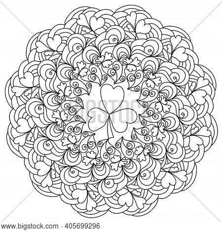 Contour Mandala With Clover Coloring Page With Swirls For St Patrick\'s Day Vector Illustration
