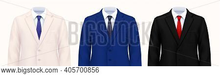 Color Mans Suit Set Of Three Realistic Images Of Smart Male Costumes Upper Parts With Jackets Vector
