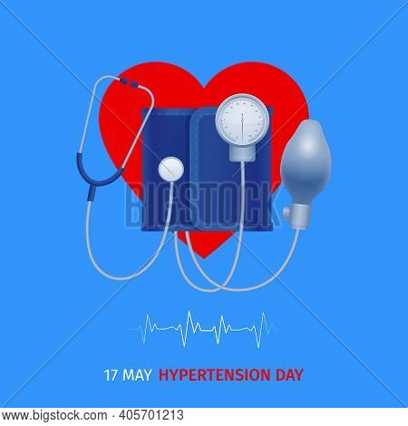 World Hypertension Day Poster With Tonometer On Heart Symbol Above Electrocardiogram Rate Graph Blue