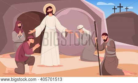 Jesus Resurrection And People Near Tomb Cave Exit Flat Vector Illustration
