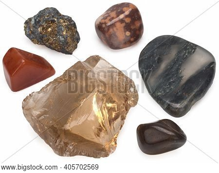 Color Spectrum Of Semiprecious Polished Gemstones, Isolated On A White Background