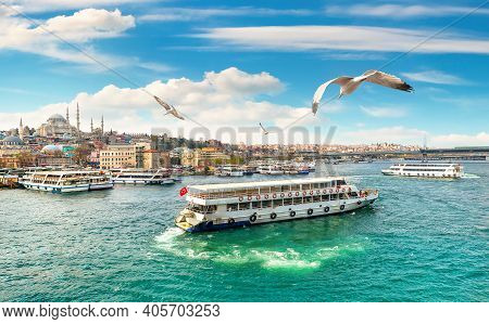 Golden Horn In Istanbul And View Of Suleymaniye Mosque