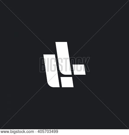 Simple Geometric Letter Ll Line Logo Vector