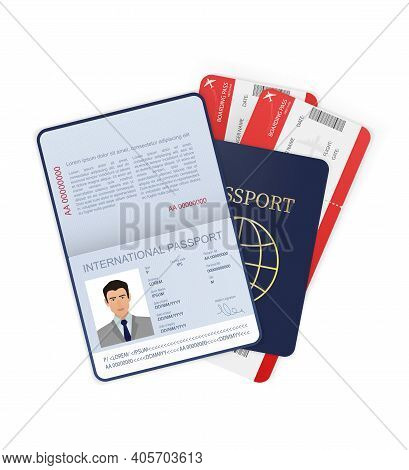 3d Card International Passport In Flat Style On White Background. Blank Template. Cover Page. Intern