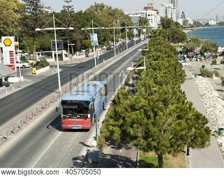 Limassol, Cyprus, October 26th, 2020: Seafront Road With A City Bus, View From The Cyta Footbridge