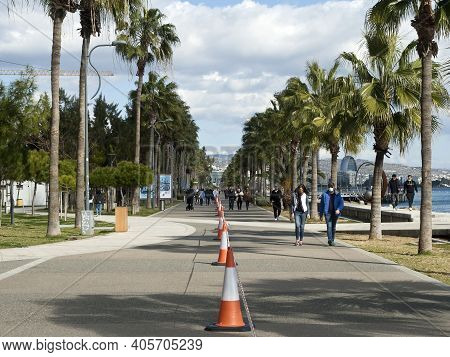 Limassol, Cyprus, January 29th, 2021: Traffic Cones With Barricade Tape On Seafront Promenade Molos