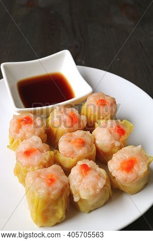 Delectable Shrimp And Pork Filled Chinese Steamed Dumplings Called Shumai