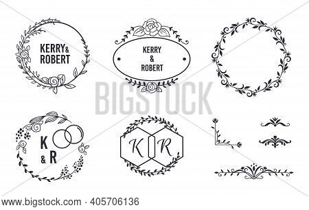 Wedding Elegant Monograms. Round Frames And Decorative Corners For Invitation And Greeting Card. Cla