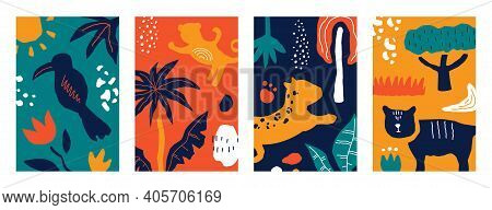 Cute Abstract Posters. Minimal Trendy Vertical Scribble Banners With Colorful Hand Drawn Shapes, Exo