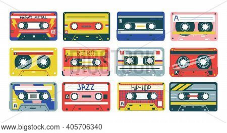 Retro Cassette. Heavy Metal, Jazz Or Hip-hop Music. 90s And 80s Analog Song Records. Old-fashioned A