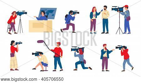 Cameraman. News Crew And Journalists. Tv Reporters Interviewing, Television Programs Recording. Isol