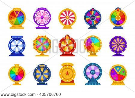 Fortune Wheels. Casino Equipment For Raffling Money Prizes. Spinning Circles Divided Into Colorful S