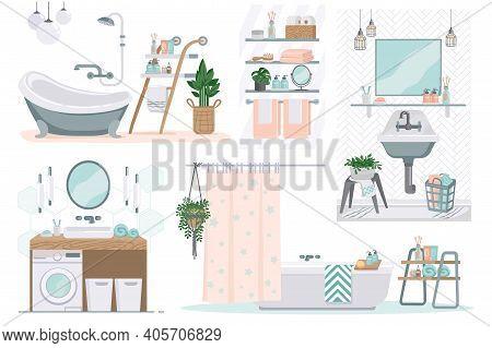 Bathroom. Cartoon Toilet Furniture. Restroom With White Enameled Bath And Washbasin, Automatic Washe
