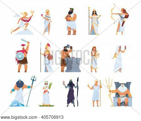 Cartoon Greek Gods. Members Of Divine Pantheon Of Greece. Ancient Mythology Persons In White Toga An